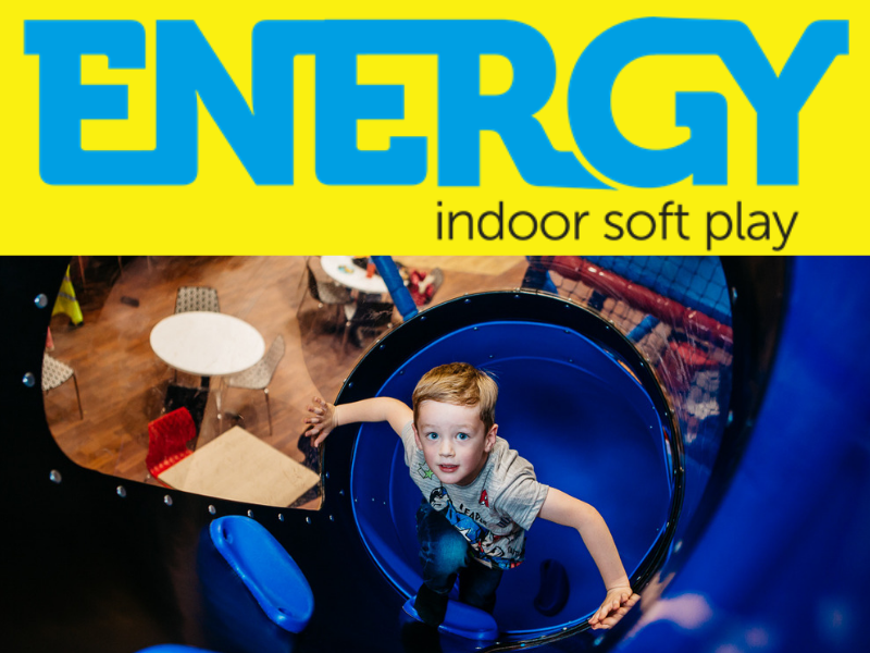 logo for Energy soft play and image of boy playing