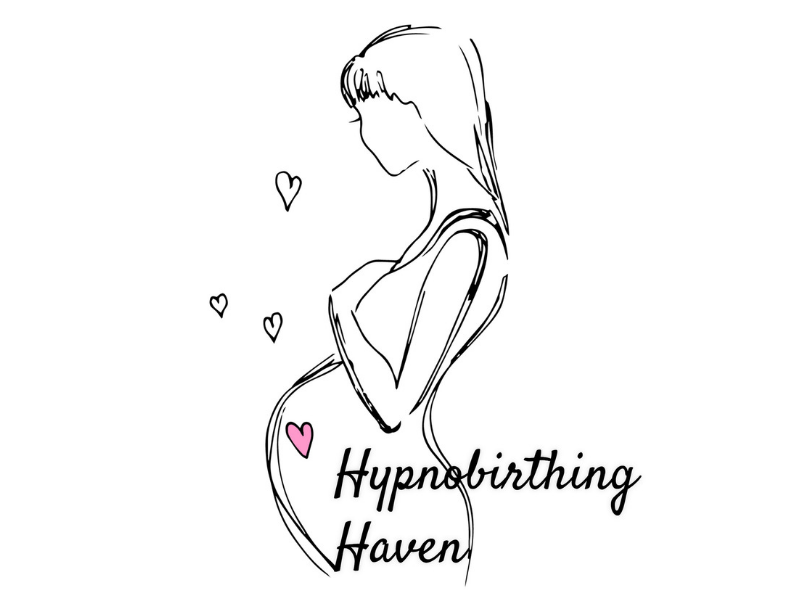 logo for hypnobirthing haven, showing a relaxed pregnant woman
