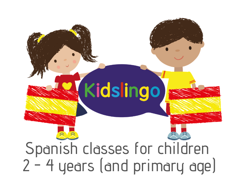 logo for kidslingo, spanish classes for children age 2-4 years, and primary age too