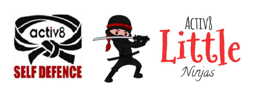 logo for activ8 self defence classes and logo for little ninjas classes for preschoolers