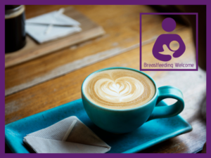 image of a cafe with a breastfeeding welcome sticker