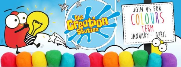 image of creation station logo with lots of coloured crayons