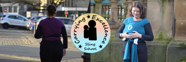 sling school logo and image showing a parent carrying her baby in a stretchy wrap