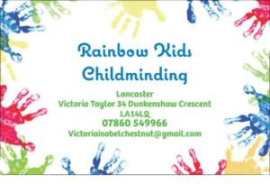 picture with the address and contact details for rainbow kids childminding in lancaster