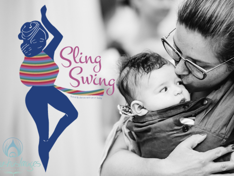 image of the sling swing logo, and of a mum kissing her baby as she carries him in a sling