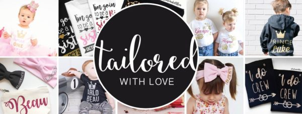 picture showing personalised clothing and the tailored with love logo