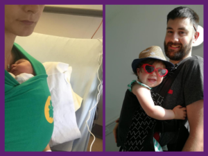 image of mum with newborn in a stretchy wrap and a dad carrying his daughter in a buckle carrier