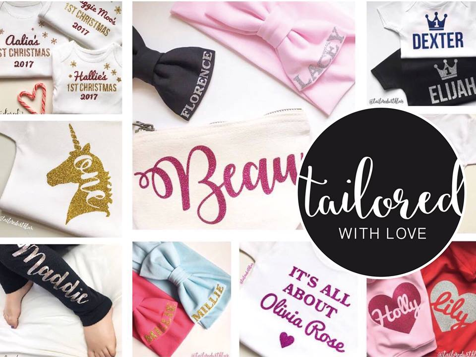 picture of personalised clothing and tailored with love logo