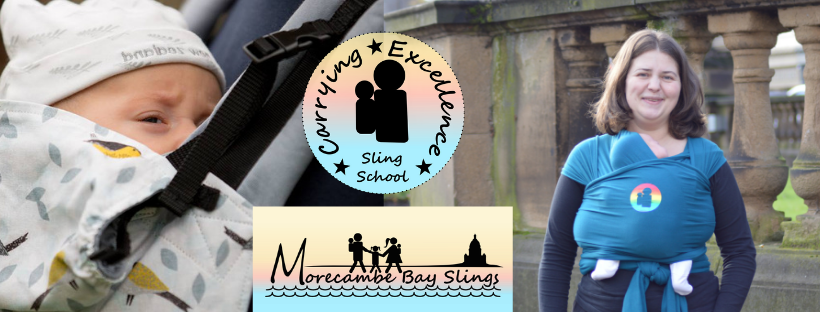 logo for morecambe bay slings, logo for sling school and images of newborn babies in a buckled carrier and in a stretchy wrap