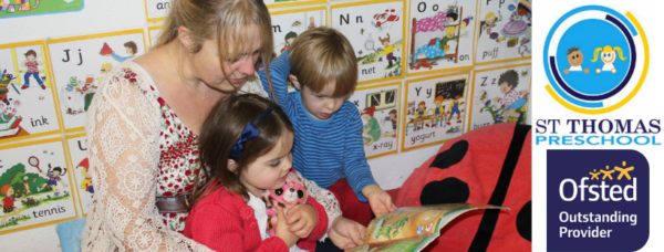 image of the preschool manager reading a book to 2 children cuddled up to her, then the st thomas preschool logo and the ofsted outstanding provider badge