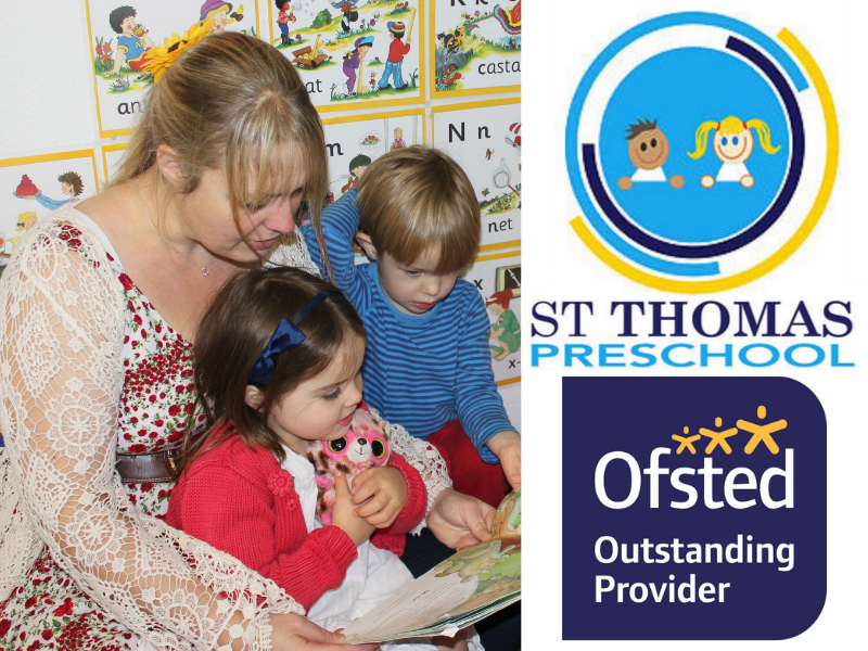 image of carer with 2 children sitting on her lap as she reads to them, logo for St Thomas' Preschool and the Ofsted outstanding provider label