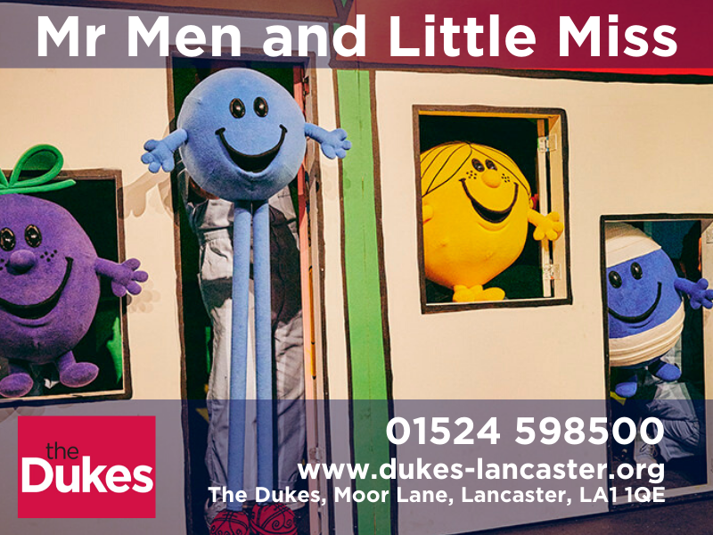 mr men and little miss on stage at the dukes